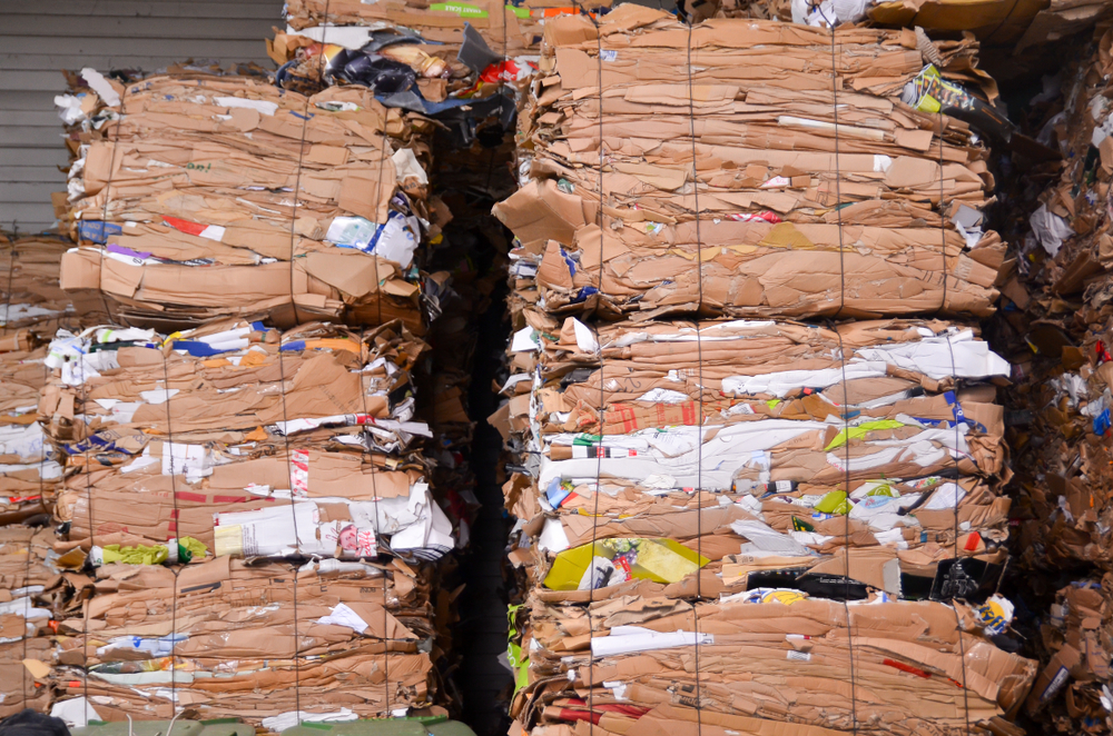 Bales of Cardboard Ready for Recycling