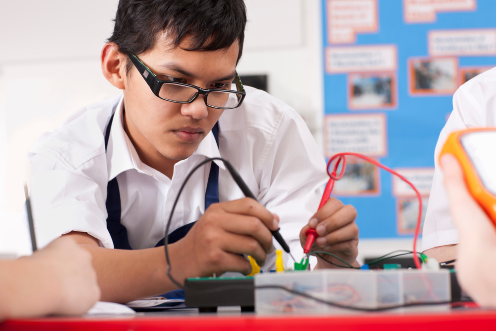 High School Student Studying Electronics